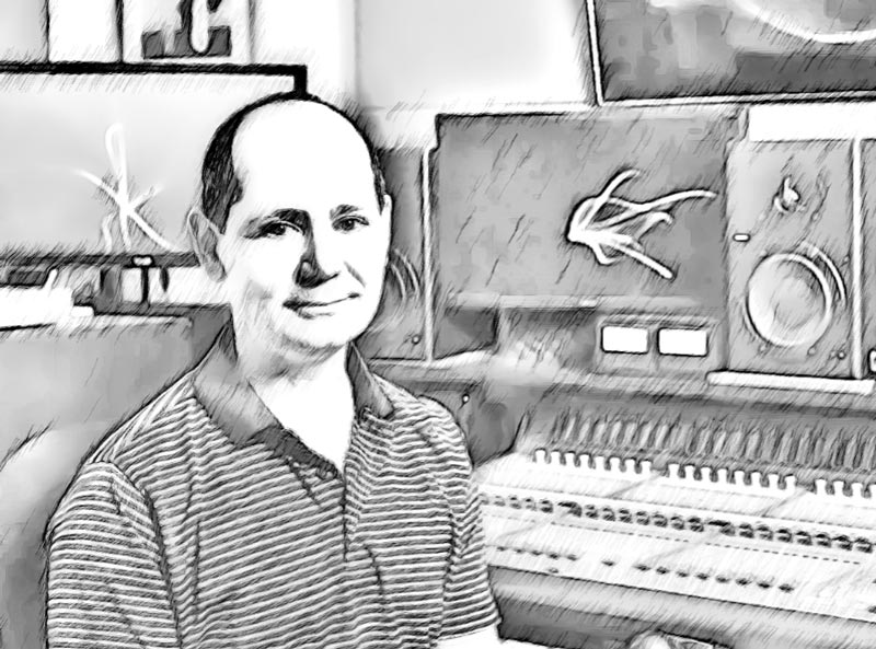 Cartoon photo of Scott McCrorie: Owner, Top Dog, Supervising Sound Editor, Sound Editor and Re-recording Mixer